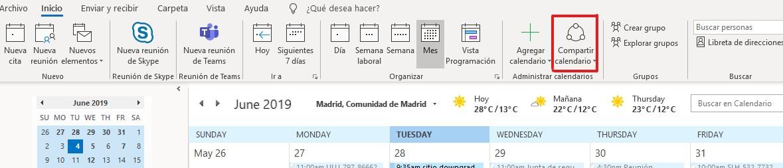 Compartir Calendario Outlook